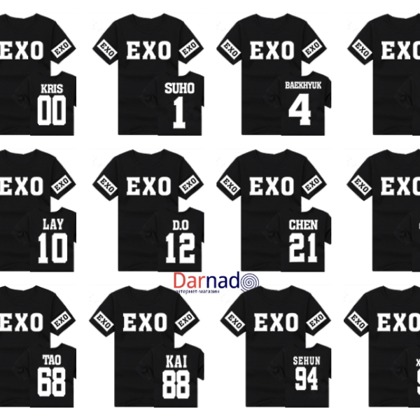 На картинке футболка Exo с номерами (12 вариантов), вид спереди и сзади.