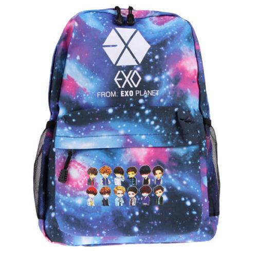 На картинке рюкзак Exo planet с принтом космос, вид спереди.