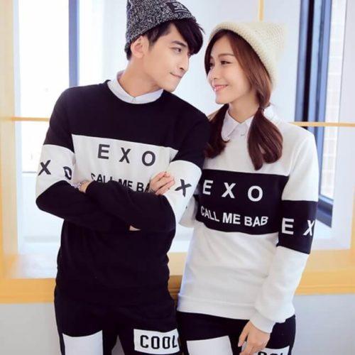 На картинке кофта Exo с принтом Call me baby, вид спереди.