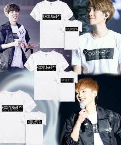 На картинке футболка Exo (10 вариантов) фото, вид спереди и сзади.