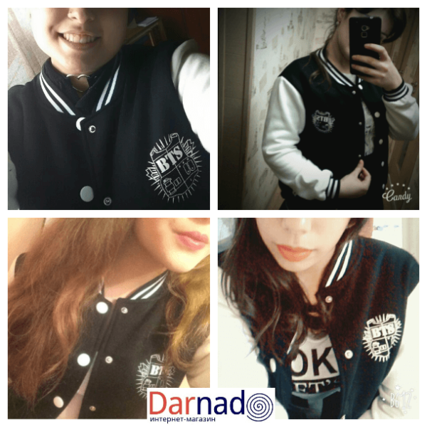 На картинке куртка Bangtan Boys с именами корейцев из BTS, детали.
