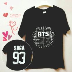 На картинке футболка Bangtan Boys (группа BTS), вид спереди и сзади, вариант 93.