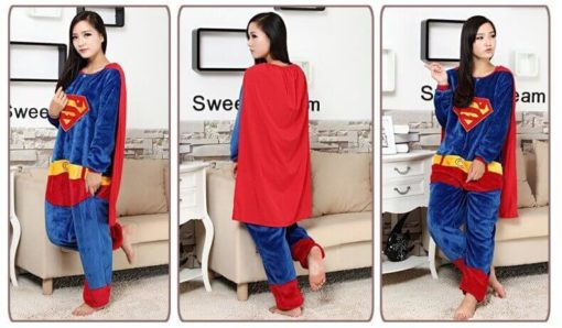 На картинке кигуруми пижама «Супермен» (Superman), вид спереди и сзади.