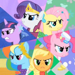 На картинке набор игрушек-фигурок Май Литл Пони (My little pony \ Дружба это чудо) 6 штук, промо к сериалу.