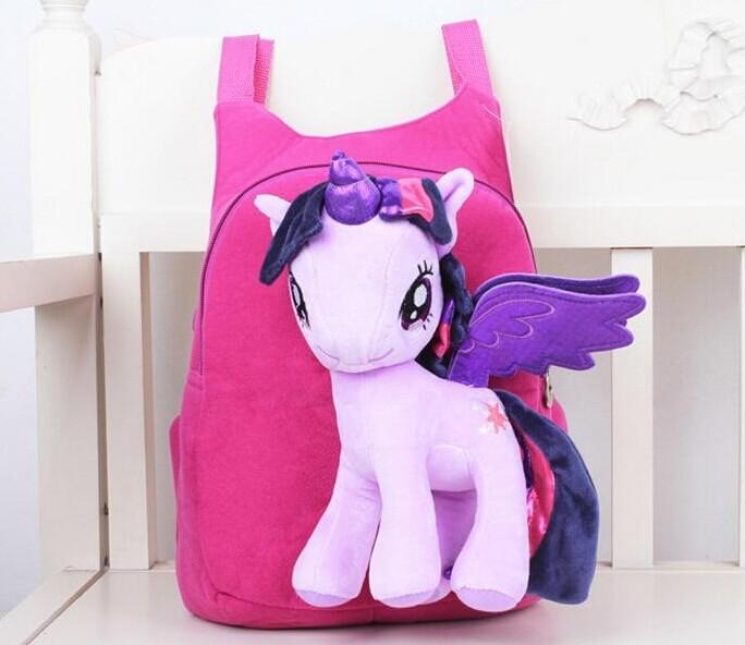 На картинке школьный детский рюкзак Май Литл Пони (My little pony \ Дружба это чудо) 3 варианта, вид спереди, вариант Сумеречная Искорка.