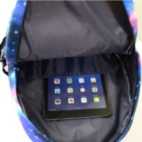 На картинке рюкзак Exo planet с принтом космос, вид внутри.