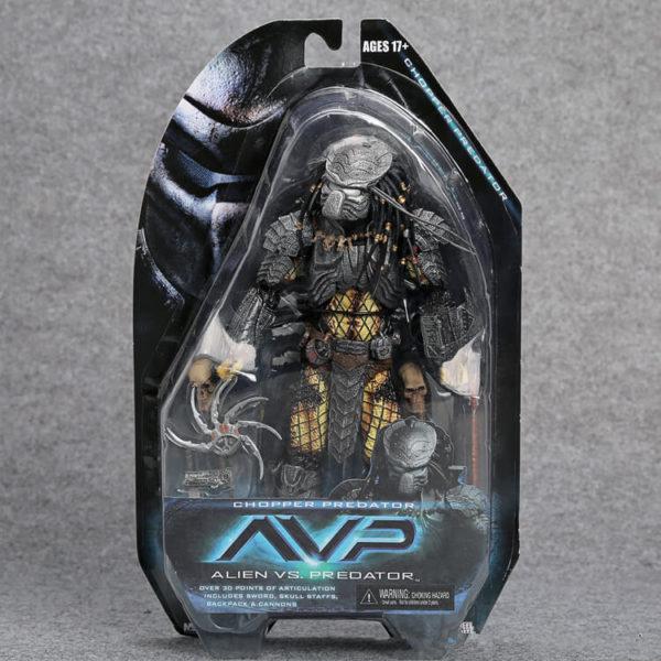 На картинке фигурка Хищник Сhooper «Чужой против Хищника» (Neca \ Нека), вид спереди в упаковке.