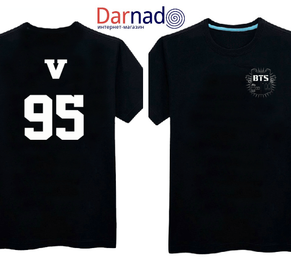 На картинке футболка Bangtan Boys (группа BTS), вид спереди и сзади, вариант 95.