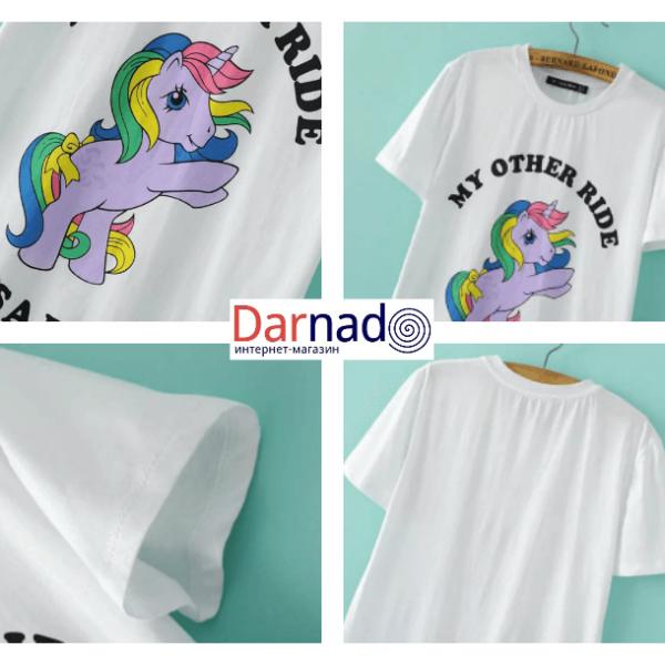 На картинке футболка с пони-единорогом (женская), детали.