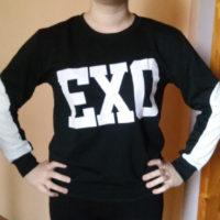 На картинке кофта Exo (2 варианта), вид спереди, цвет черный.