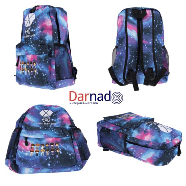 На картинке рюкзак Exo planet с принтом космос, вид с разных сторон.
