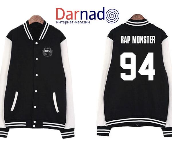 На картинке куртка Bangtan Boys с именами корейцев из BTS, вид спереди и сзади, вариант 94.
