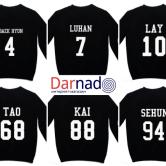 На картинке кофта Exo с именами корейцев, вид сзади.