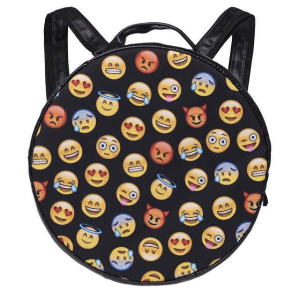 На картинке рюкзак со смайликами (emoji), вид спереди.