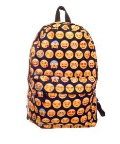 На картинке рюкзак со смайликами (смайлами) из вк (2 варианта), вид спереди, вариант Черный.