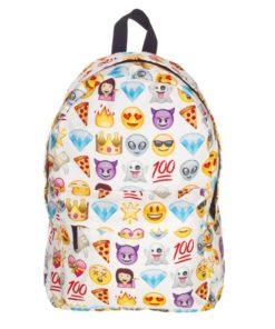 На картинке рюкзак со смайликами (смайлами) из вк (2 варианта), вид спереди, вариант Белый.