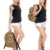 На картинке рюкзак со смайликами (смайлами) из вк (2 варианта), общий вид, вариант Черный.