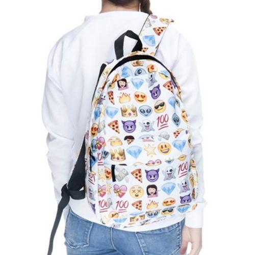 На картинке рюкзак со смайликами (смайлами) из вк (2 варианта), общий вид, вариант Белый.
