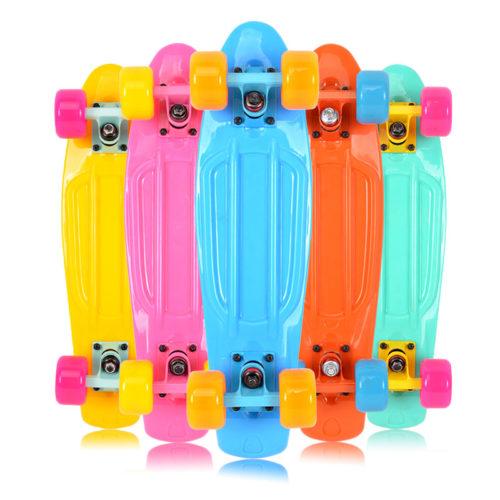 Муся-майка-пастель-пластиковые-мини-cruiser-скейтборд-22-ретро-лонгборд-не-завершить-нет-сборки-требуется