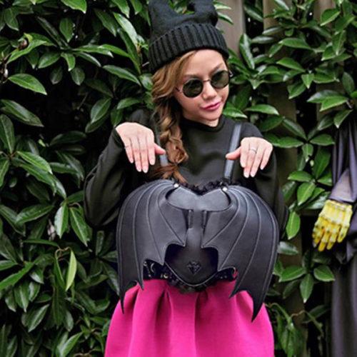 Новинка-бита-в-форме-сердца-крылья-панк-стильный-черный-женщины-рюкзаки-марка-полиуретан-кожа-Gril-в
