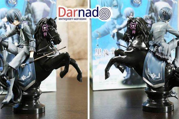 На картинке фигурка Сиэль Фантомхайв на коне «Темный дворецкий» (Kuroshitsuji), вид с разных сторон.