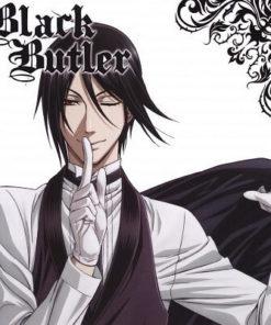 На картинке фигурка Себастьяна с подносом «Темный дворецкий» (Kuroshitsuji), промо к аниме.