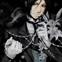 На картинке фигурка Себастьяна с часами «Темный дворецкий» (Kuroshitsuji), кадр из манги.