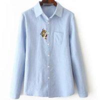 Новое-поступление-женщин-толстые-блузка-кошка-вышивка-рубашка-с-длинным-рукавом-однобортный-рубашка-элегантный-офис-пр