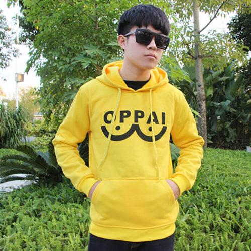 Один-удар-человек-Oppai-балахон-мужские-аниме-косплей-костюм-спортивная-одежда-желтый-толстовки-один-PUNCH-MAN