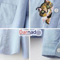 Рубашка с вышивкой кота, детали