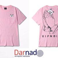Футболка с котом ripndip, вид розовой футболки с разных сторон