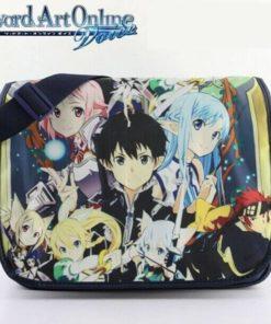 На картинке сумка «Sword Art Online» (SAO) с персонажами, вид спереди.