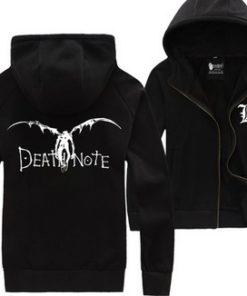 На картинке толстовка Тетрадь смерти (Death note) 2 цвета, вид спереди и сзади, цвет черный.