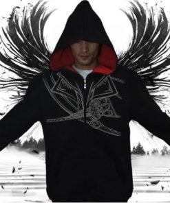 На картинке толстовка Асасин крид (Assassins creed), вид спереди, цвет черный.