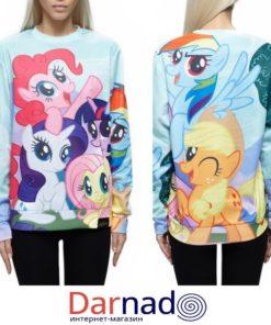 """На картинке свитшот """"Мy little pony"""" (Дружба это чудо), вид спереди и сзади."""