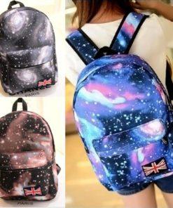 На картинке рюкзак с космическим принтом (принтом космос) 4 варианта, вид спереди, 3 варианта.