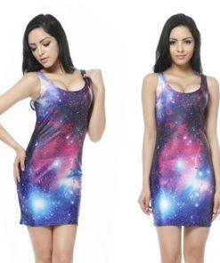 На картинке платье с космическим принтом (8 вариантов), вид спереди. вариант 7.