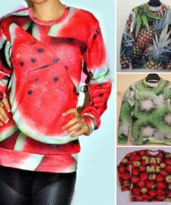 На картинке свитшот с фруктами (4 варианта), вид спереди.
