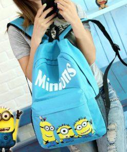 На картинке рюкзак с миньонами (Гадкий Я), вид спереди, цвет голубой.