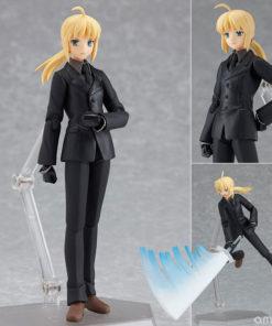 На картинке фигурка Fate Zero Сейбер в черном костюме (подвижная), общий вид с разных сторон.