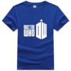На картинке футболка «Доктор Кто», вид спереди, цвет синий.