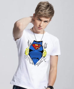 На картинке футболка «Рубашка Супермена» (Superman), вид спереди, цвет белый.