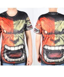 На картинке футболка Халк Марвел (Hulk \ Avengers \ Marvel), вид спереди и сзади.
