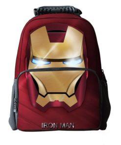 На картинке школьный рюкзак Железный человек (Iron Man), вид спереди.