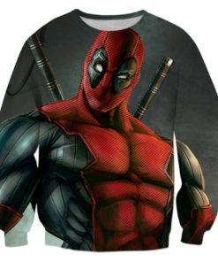 На картинке свитшот с Дэдпулом (Deadpool) 3 варианта, вариант Дэдпул.