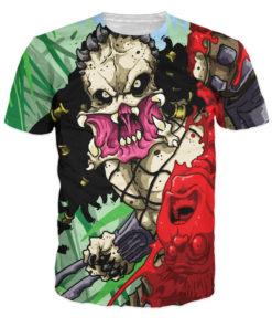 На картинке футболка с Хищником женская (Predator), вид спереди.